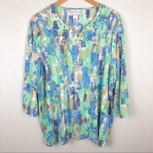 Alfred Dunner Blue Green Patterned Blouse SZ 3X